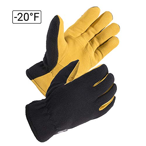 SKYDEER Mens Winter Sport Gloves - Premium Genuine Deerskin Leather and Polar Fleece Work Gloves (SD5166T/L)