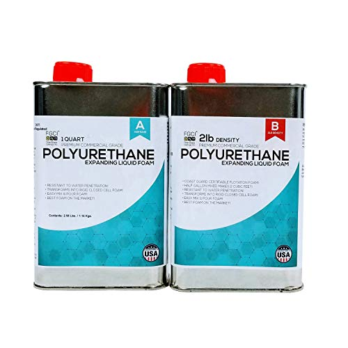 Polyurethane Expanding Liquid Foam 1/2 Gallon KIT, 2 LB Density Polyurethane Foam, Includes 1 Quart Part A & 1 Quart Part B, 2 Part Polyurethane Marine Foam, Coast Guard CERTIFIABLE AS Flotation