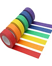 AUTENS Colored Masking Tape, 6 Pack 1 Inch x 13 Yards (2.4cm X 12m) Colorful Paper DIY Decorative Stickers Tape Fun Rainbow Masking Tapes for Arts & Crafts, Labeling or Coding, School, Office & Home