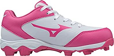 Mizuno (MIZD9) 9-Spike Advanced Finch Franchise 7 Girls Fastpitch Cleat Softball-Shoes, White/Pink, 4.5 Youth US Big Kid