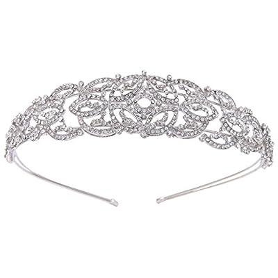 EVER FAITH Silver-Tone Austrian Crystal Wedding Art Deco Hollow-Out Hair Band Headpiece Clear