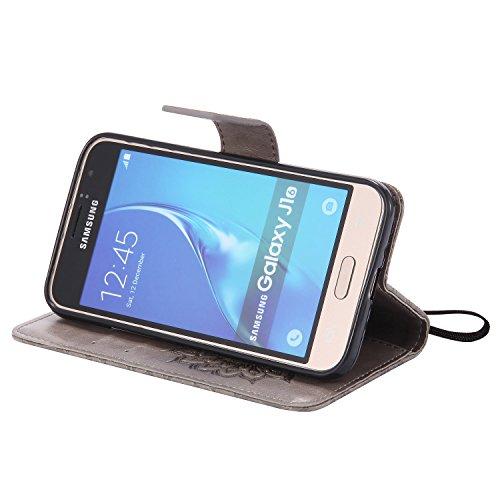 Funda Samsung Galaxy S3 i9300 / S3 Neo Case , Ecoway Girasoles patrón en relieve PU Leather Cuero Suave Cover Con Flip Case TPU Gel Silicona,Cierre Magnético,Función de Soporte,Billetera con Tapa para gris
