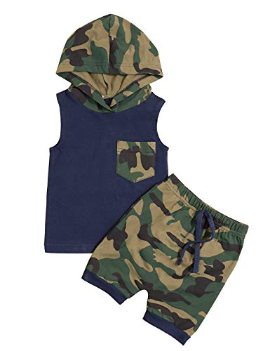 Toddler Infant Baby Boy Clothes Camouflage Print Sleeveless Hoodie Tank Tops Pants 2 Pcs Outfit Set(70/0-6M) - Sweater Baby Set