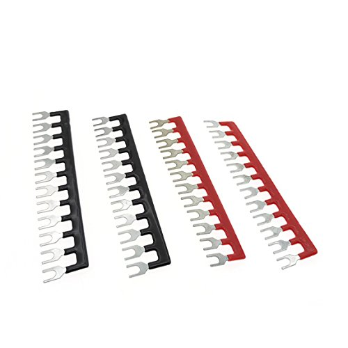 Type Fork (YXQ 400V 10A 12 Postions Fork Type Terminal Stripe Terminal Barrier Strips TB1512 Block with Pre Insulated (2+2) Red/Black 4 Pcs)