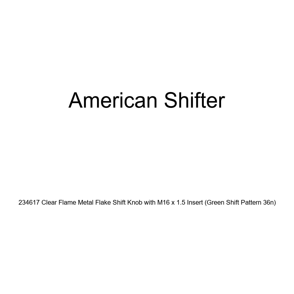 American Shifter 234617 Clear Flame Metal Flake Shift Knob with M16 x 1.5 Insert Green Shift Pattern 36n