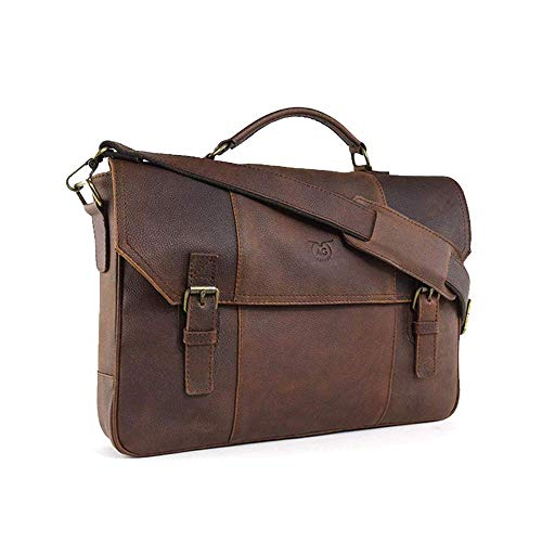 """AG Leather Genuine Leather Messenger Bag Briefcase Attache Case 17"""" Laptop Old west (Brown)"""