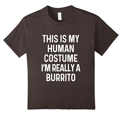 Burrito Costume Girl (Kids Funny Burrito Costume Shirt Halloween Men Women Kids 12 Asphalt)