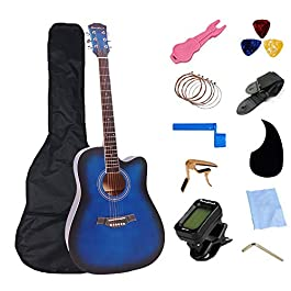 41 inch Acoustic Guitar Full Size Cutaway Folk Guitar Bundles with Tunner Bag Pick Capo Strings Accessories Sets Wooden…