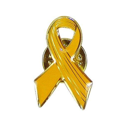 Patriotic Ribbon Pin (Yellow Awareness Ribbon Lapel Pins, Cancer Awareness Hope Ribbon Pin - Enamel on Gold Tone Metal.)