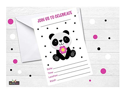 (Panda Pink Fill-in Invitation for Girls 12 pcs, 4x6 with White Envelopes, for Kids Birthday Party or Bear Baby Showers)
