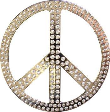 Hippie Peace Belt (RHINESTONE PEACE SIGN Metal Belt Buckle)