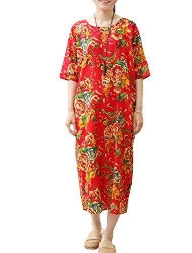 Vogstyle Imprimées Longue Vrac 3 Rouge Style Femme Coton Robe En rpnSYrF