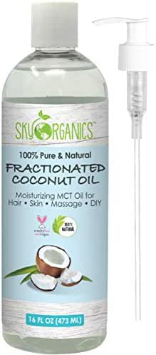 Fractionated Coconut Oil by Sky Organics (16oz) 100% Pure MCT Oil (Cocos Nucifera) with PUMP. Ideal as a Massage Oil & Aromatherapy. Carrier Oil Made in USA. No Staining Tanning Oil
