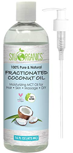 Oil Massage Peppermint Liquid - Fractionated Coconut Oil by Sky Organics 16oz- 100% Pure MCT Oil (Cocos Nucifera) with PUMP. Ideal as a Massage Oil & Aromatherapy. Carrier Oil Made in USA. No Staining Tanning Oil