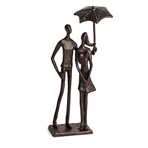 Modern Metal Sculpture - Danya B. Loving Couple Under Umbrella Bronze Sculpture - Modern and Elegant Design - Metal Art - Contemporary Home and Office Décor