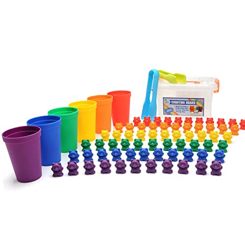 Legato Counting/Sorting Bears Bonus Pack; 66 Rainbow Colored Bears, 6 Stacking Cups, 2 Kids Tweezers, Storage Container, Activity eBook I Quality STEM and Montessori Educational Toy