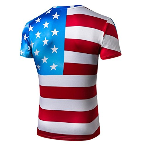 Lucaso メンズ Tシャツ 人気 半袖 クルーネック アメリカ国旗柄 星柄 ボーダー ゆったり 大きなサイズ おもしろ おしゃれ カジュアル スポーツ 通学 通勤 ストリート ゴルフ フィットネス 日常 父の日