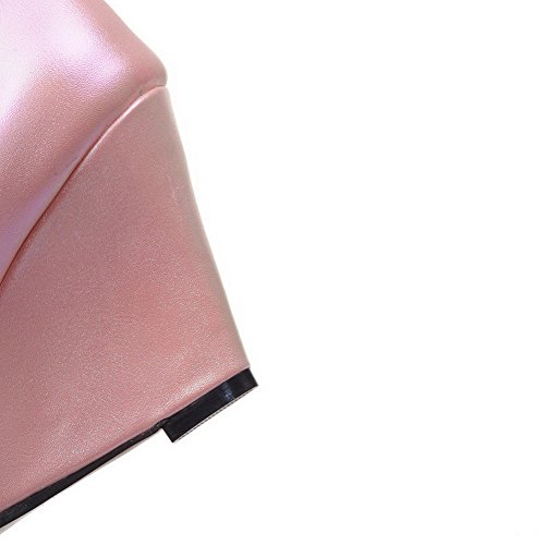 Odomolor Mujeres Plataforma Puntera en Punta Cerrada Sólido Hebilla De salón con Metal Rosa