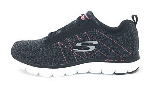 Skechers Sport Frauen Flex Appeal 2.0 Fashion Sneaker Schwarz Rosa