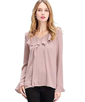 NiSeng Camisetas Mujer Manga Larga Originales Blusa Cuello en V Chiffon Blouse Color Solido Shirt Tops Marrón Claro 2XL