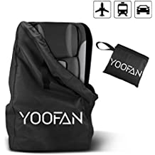 YOOFAN Childress Car Seat Travel Bag,Airport Gate Check Bag with Backpack Shoulder Straps for Strollers, Car Seats, Pushchairs, Wheelchairs, Water Resistant (Black)