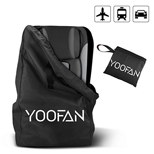 YOOFAN Childress Car Seat Travel BagAirport Gate Check Bag with Backpack Shoulder Straps for Strollers, Car Seats, Pushchairs, Wheelchairs, Water Resistant (Black)