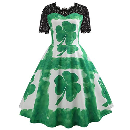 Women St Patrick's Day Vintage Lace Evening Party Prom Mid-Calf Swing Dress Green Leaf Short Sleeve Cocktail Mini Dress (Green, XL)