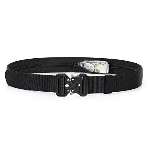 Military Money Belt Buckle Heavy Duty, Adjustable Nylon Jean Belt With Hidden Zipper (Money Belt Buckle)