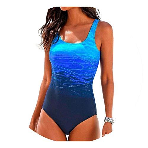 Womens Swimming Costume Padded Swimsuit Monokini Push Up Bikini Sets Swimwear one Piece Bikini Set,M Blue -