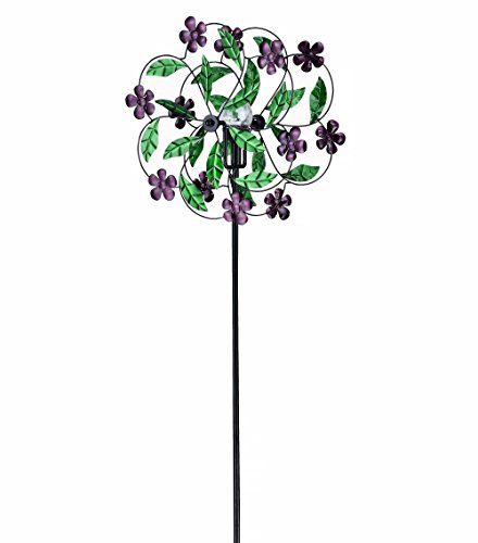 Fancy Gardens 5.25 Feet Tall Flower Wind Spinner with Solar Ball-- Multicolor Kinetic Garden Windspinner - Decorative Lawn Ornament Wind Mill - Unique Outdoor Lawn and Garden Décor by Fancy Gardens