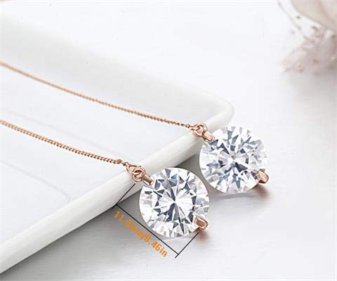 Round AAA Cz Zircon Stone Link Gold Color Chain Dangle Threader Through Long Earrings for Women Jewelry Pendientes Aros