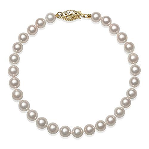 14k Yellow Gold AA Quality Cultured Freshwater Pearl Strand Bracelet (7.00, 5.5-6.0mm)