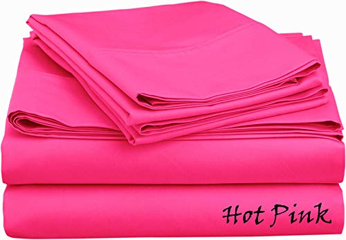 Luxury Linens Egyptian-Cotton, Hot Pink Solid 600 Thread Count 4-Piece California King Bed Sheet Set Sateen Solid, Fitted Sheet Fit up to 30 Inches Deep Pocket.
