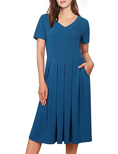 Messic Womens Solid V Neck Short Sleeve Empire Waist Pleated Loose Casual Midi Dress