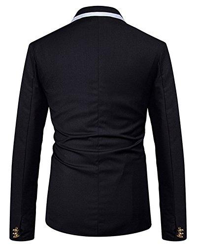 Fit Costume Boutons Deux Mens Slim Casual Noir Veste 5xYwqgACY