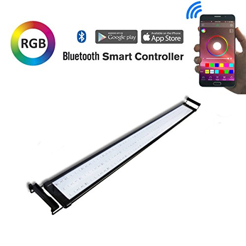 Hypergiant 48 Inch Aquarium Hood Lighting Color Changing Remote(67ft control distance) Bluetooth APP Controlled Dimmable RGBW LED Light for Aquarium 55 gallon Fish Tank For Fresh with Extendable by Hypergiant