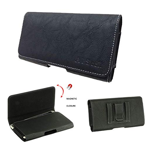 AISCELL Belt Clip Pouch,Black Suede Leather Carrying Case Holster 6.25 x 3.20 x 0.50 Inches, Fits iPhone 11,11 Pro Max, Xs Max,Xr, 8 Plus, 7 Plus, 6S Plus with Slim Protective Cover or Naked Phone