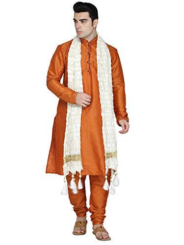 (Indian Kurta Pajama Stole 3- Pieces Set Men Long Sleeve Hook & Eye Kameez Pyjama Set Ethnic Wear Wedding Outfit -M Orange)