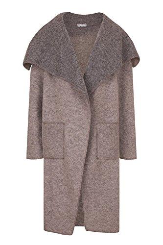 Ladies Women Italian Lagenlook 5256 Boiled Wool Mix Duster Coat Pocket Jacket Waterfall Taupe