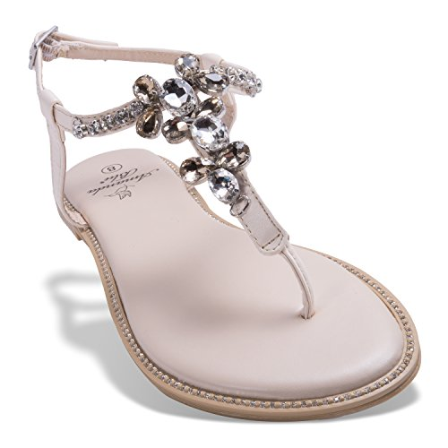 Sandalo Amanda Blu Catherine In Cristallo Bling Fashion - Diamante Avorio
