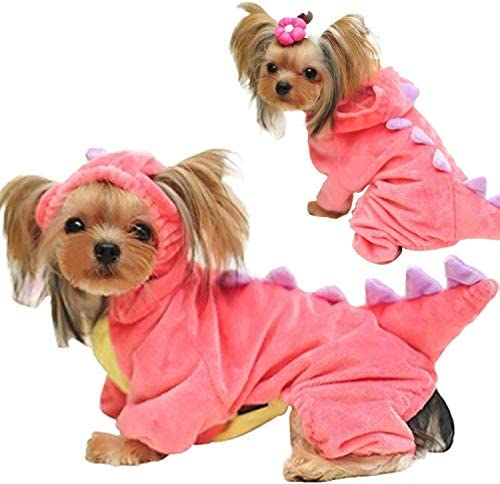 GBD Halloween Costume for Pet Dog Cat Dinosaur Plush Hoodies Animal Fleece Jacket Coat Warm Outfits Clothes for Small Medium Dogs Cats Halloween Cosplay Apparel Accessories 17