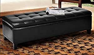 Amazon.com: HomeK- End of Bed Storage Bench-Bedroom ...