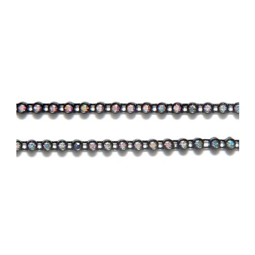 Preciosa Size SS8 Crystal Aurora Borealis Finish Rhinestone with Black Plastic Banding, 1m Long