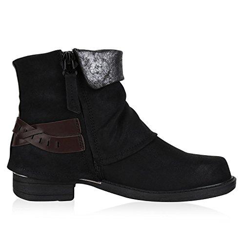 Mujer Schnalle napoli estilo motero botas fashion Schwarz Ixx0w1pq