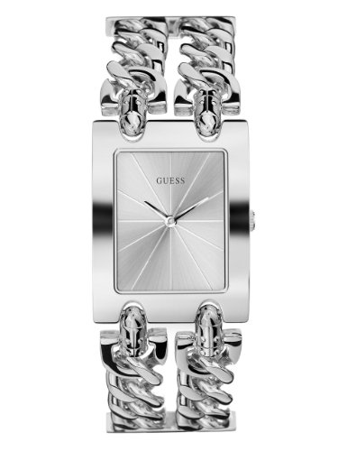 GUESS-Womens-G75916L-Silver-Tone-Chain-Watch-with-Self-Adjustable-Bracelet