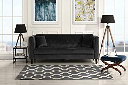 Mid-Century Tufted Velvet Sofa, Living Room Couch with Tufted Buttons  (Black)