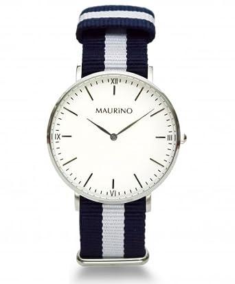 MAURINO Herren Armbanduhr Analog Quarz Textil Silber 40mm M0166