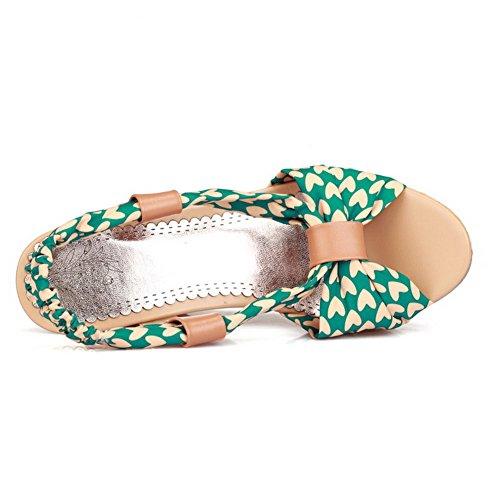 Amoonyfashion Mujeres High Heels Surtido De Color Pull On Sandalias Con Punta Abierta Verde