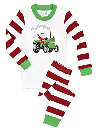 - Sara's Prints Baby Unisex Kids All Cotton Long John Pajamas, Santa Tractor - Srws, 12M