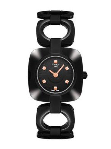 ティソodaci-tブラックPVD正方形ブラックダイヤルレディース腕時計# t020.109.11.051.00 B0030P2YCO